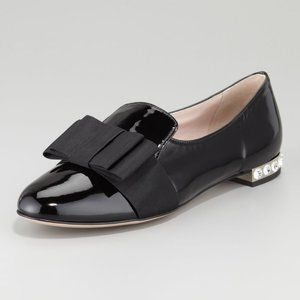 Miu Miu Embellished heel Patent Leather Bow Loafer